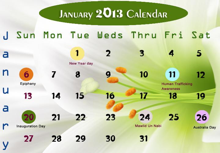 January Printable 2013 Calendar
