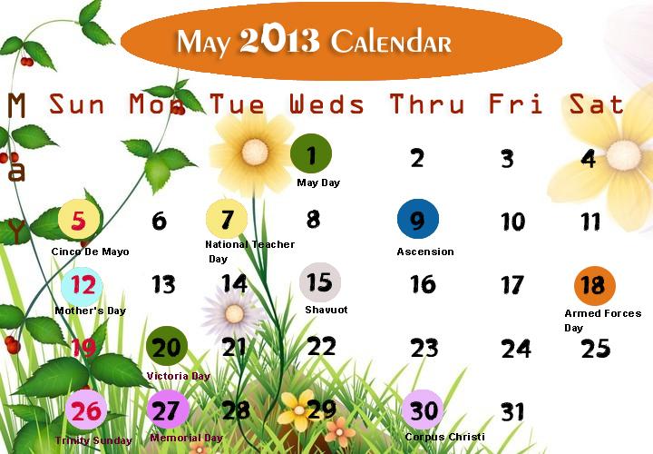 May Printable 2013 Calendar