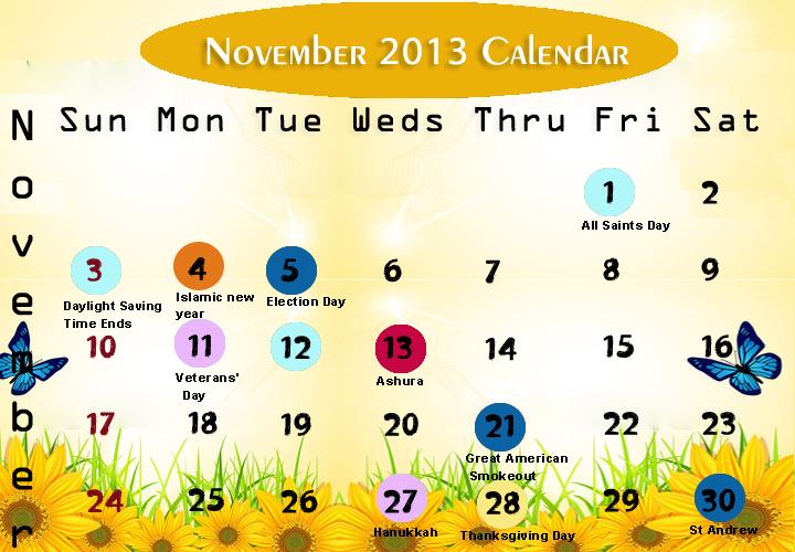 November Printable 2013 Calendar
