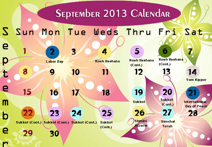 September Printable 2013 Calendar