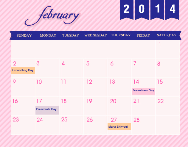 February Printable 2014 Calendar