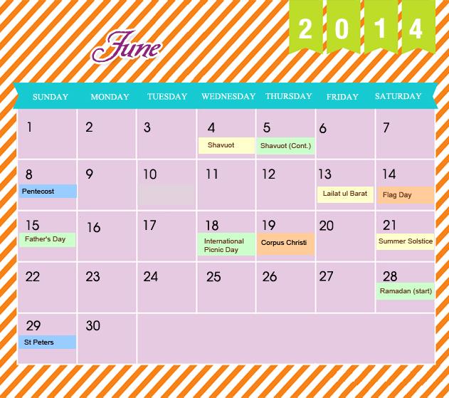 June Printable 2014 Calendar