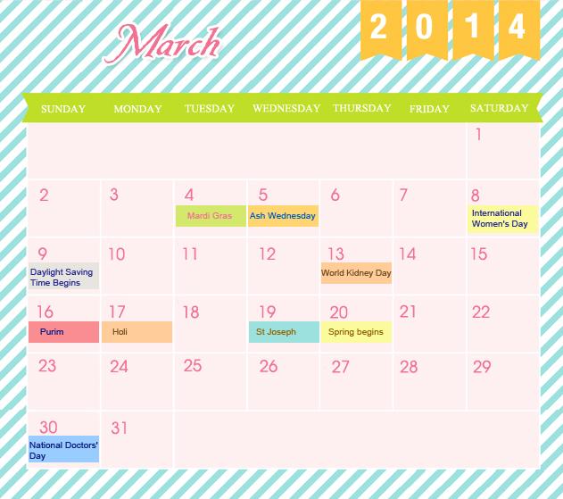 March Printable 2014 Calendar