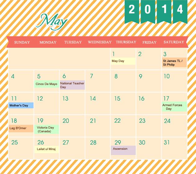 May Printable 2014 Calendar