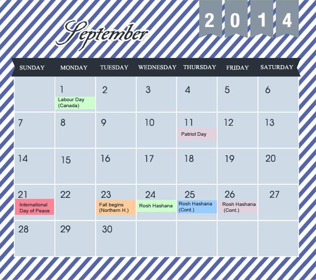 September Printable 2014 Calendar